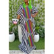 Lovely Bohemian Striped Black Maxi Dress
