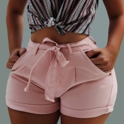 Lovely Stylish Lace-up Pink Plus Size Shorts