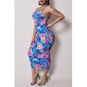 Lovely Leisure Plants Print Blue Mid Calf Dress