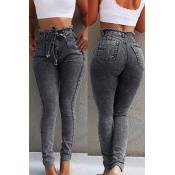 Lovely Stylish Lace-up Black Plus Size Jeans