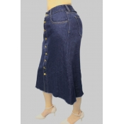 Lovely Trendy Buttons Design Blue Plus Size Skirts
