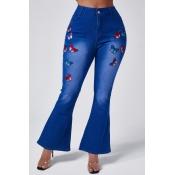 Lovely Stylish Butterfly Blue Jeans