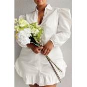 Lovely Stylish Flounce Design White Plus Size Dress