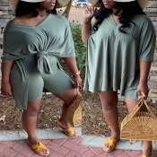 Lovely Casual Asymmetrical Green Plus Size Two-piece Shorts Set
