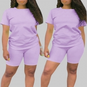 Lovely Casual Basic Purple Plus Size Two-piece Sho