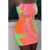 Lovely Casual Tie-dye Jacinth Mini Dress