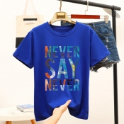 Lovely Casual O Neck Letter Blue T-shirt