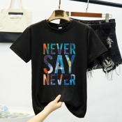 Lovely Casual O Neck Letter Black T-shirt