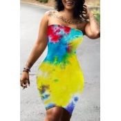 Lovely Sexy Dew Shoulder Tie-dye Yellow Knee Lengt