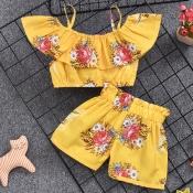 Lovely Bohemian Print Yellow Girl Two-piece Shorts Set
