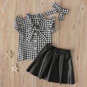 Lovely Sweet Grid Print Black Girl Two-piece Skirt