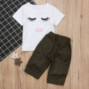 Lovely Casual Print White Girl Two-piece Pants Set