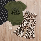 Lovely Casual Print Green Girl Two-piece Pants Set