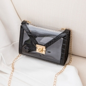 Lovely Stylish Chain Strap Black Crossbody Bag