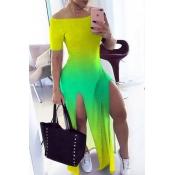 Lovely Stylish Gradual Change Yellow Maxi Dress