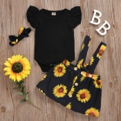 Lovely Sweet Sunflower Print Black Girl Two-piece Skirt Set