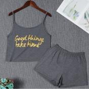 Lovely Leisure Letter Dark Grey Sleepwear