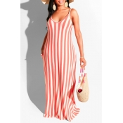 Lovely Casual Striped Pink Maxi Dress