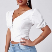 Lovely Trendy Zipper Design WhiteBlouse