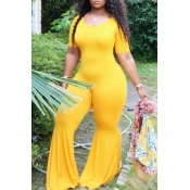 Lovely Leisure Skinny Yellow Plus Size One-piece J