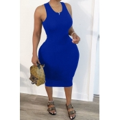 Lovely Trendy Hollow-out Blue Mid Calf Plus Size Dress
