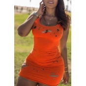Lovely Trendy Hollow-out Orange Mini Dress