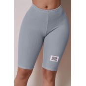 Lovely Casual Basic Skinny Grey Shorts