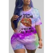 Lovely Casual Lip Print Purple Plus Size Two-piece Shorts Set
