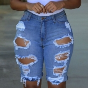 Lovely Casual Hollow-out Baby Blue Denim Shorts