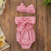 Lovely Sweet Striped Red Girl One-piece Romper