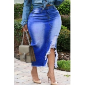 Lovely Casual Torn Edges Deep Blue Plus Size Skirt