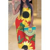 Lovely Bohemian Sunflower Print Red Maxi Plus Size