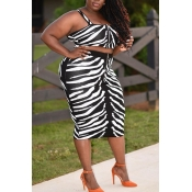 Lovely Casual Print Black Plus Size Two-piece Skir