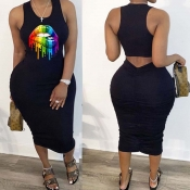 Lovely Leisure Lip Print Black Mid Calf Plus Size