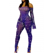 Lovely Stylish Print Purple One-piece Jumpsuit