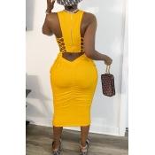 Lovely Leisure U Neck Bandage Design Yellow Mid Ca