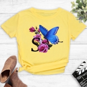 Lovely Street O Neck Print Yellow T-shirt