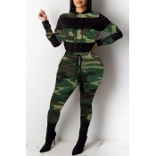 Lovely Stylish Camo Print Plus Size Two-piece Pant