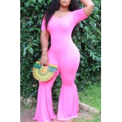 Lovely Leisure Skinny Pink Plus Size One-piece Jum