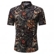 Lovely Bohemian Turndown Collar Print Black Shirt