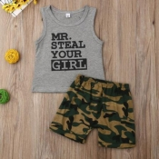 Lovely Leisure Letter Print Grey Boy Two-piece Shorts Set