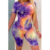 Lovely Casual Tie-dye Purple Two-piece Shorts Set