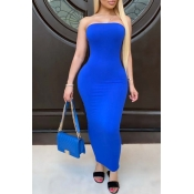 Lovely Trendy Dew Shoulder Blue Ankle Length Dress