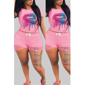 lovely Leisure Print Pink Plus Size Two-piece Shor