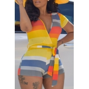 lovely Trendy Striped Yellow One-piece Romper