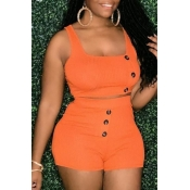 lovely Leisure Buttons Design Orange One-piece Rom