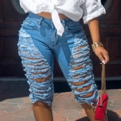 lovely Trendy Hollow-out Blue Shorts