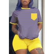 Lovely Casual Striped Yellow Two-piece Shorts Set