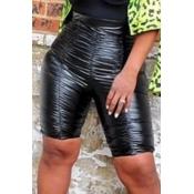 Lovely Trendy Fold Design Black Shorts