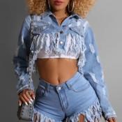 lovely Stylish Tassel Design Baby Blue Jacket